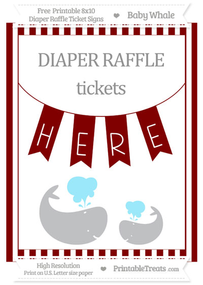 Free Maroon Striped Baby Whale 8x10 Diaper Raffle Ticket Sign
