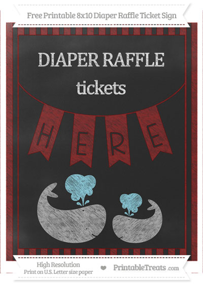 Free Maroon Striped Chalk Style Baby Whale 8x10 Diaper Raffle Ticket Sign