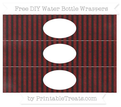 Free Maroon Striped Chalk Style DIY Water Bottle Wrappers