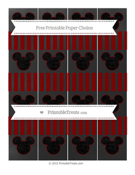 Free Maroon Striped Chalk Style Mickey Mouse Paper Chains