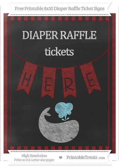 Free Maroon Striped Chalk Style Whale 8x10 Diaper Raffle Ticket Sign