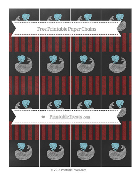 Free Maroon Striped Chalk Style Whale Paper Chains
