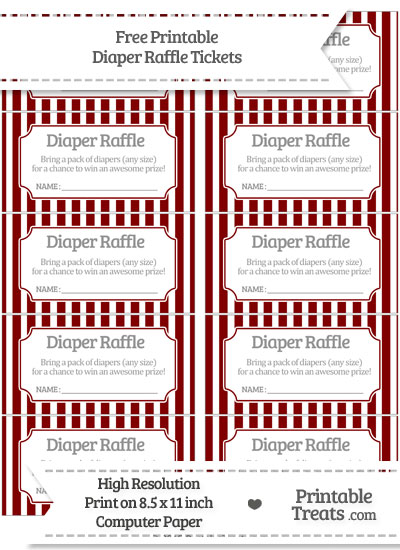 Free Maroon Striped Diaper Raffle Tickets