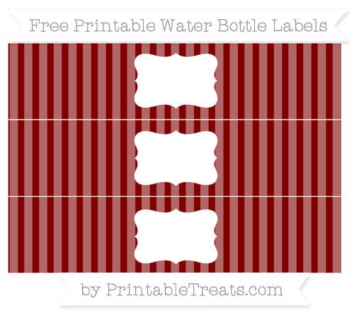 Free Maroon Striped Water Bottle Labels