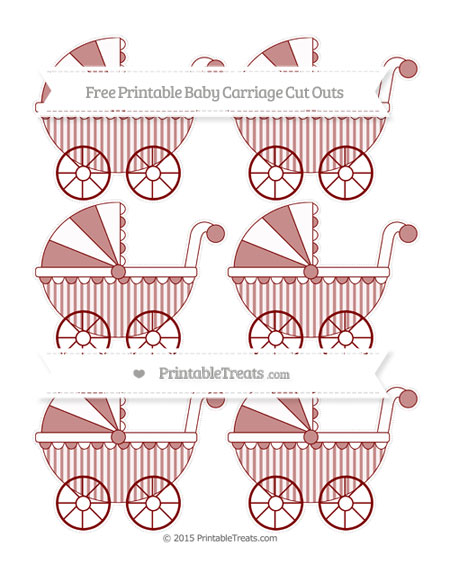 Free Maroon Striped Small Baby Carriage Cut Outs