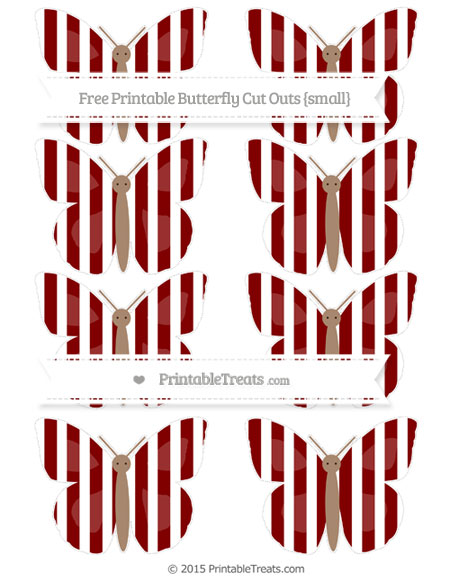 Free Maroon Striped Small Butterfly Cut Outs