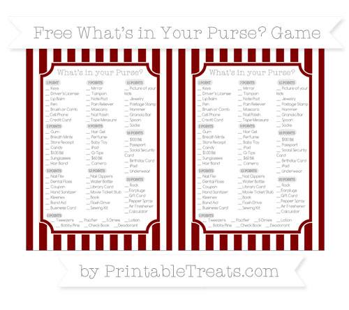 Free Maroon Striped What's in Your Purse Baby Shower Game