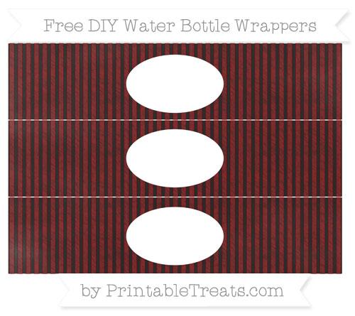Free Maroon Thin Striped Pattern Chalk Style DIY Water Bottle Wrappers