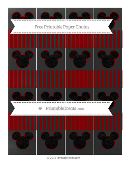 Free Maroon Thin Striped Pattern Chalk Style Mickey Mouse Paper Chains