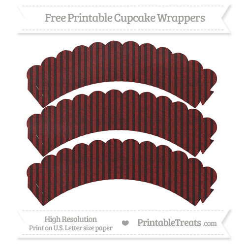 Free Maroon Thin Striped Pattern Chalk Style Scalloped Cupcake Wrappers