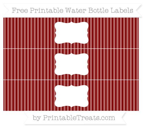Free Maroon Thin Striped Pattern Water Bottle Labels