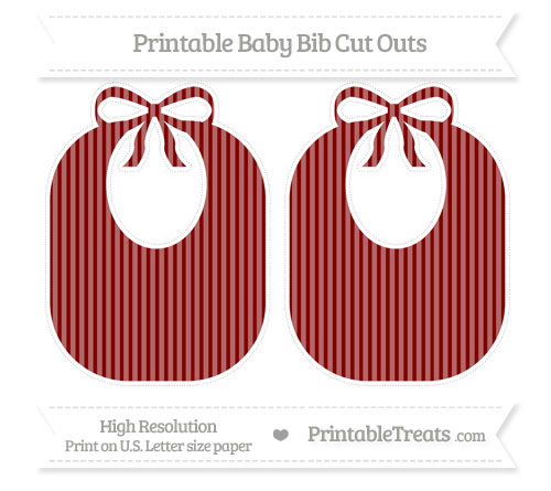 Free Maroon Thin Striped Pattern Large Baby Bib Cut Outs