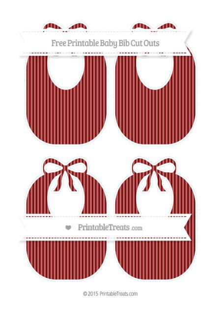 Free Maroon Thin Striped Pattern Medium Baby Bib Cut Outs