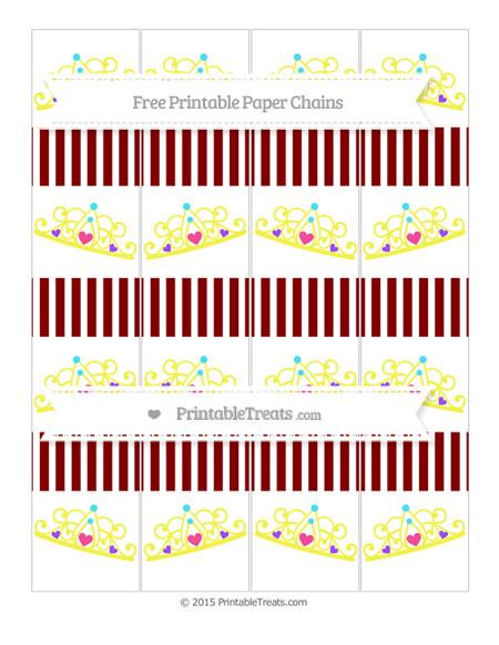 Free Maroon Thin Striped Pattern Princess Tiara Paper Chains