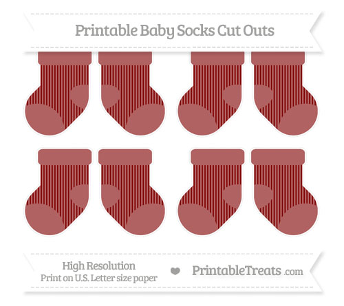 Free Maroon Thin Striped Pattern Small Baby Socks Cut Outs