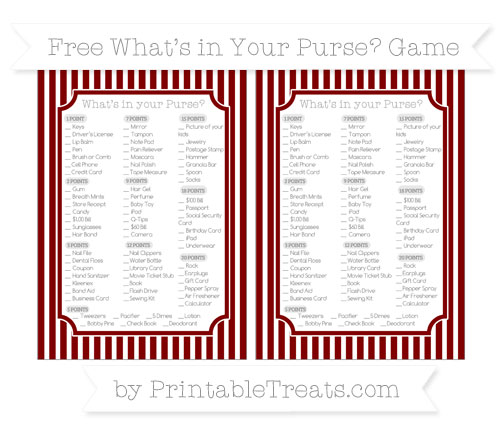 Free Maroon Thin Striped Pattern What's in Your Purse Baby Shower Game