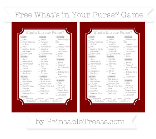 Free Maroon What's in Your Purse Baby Shower Game