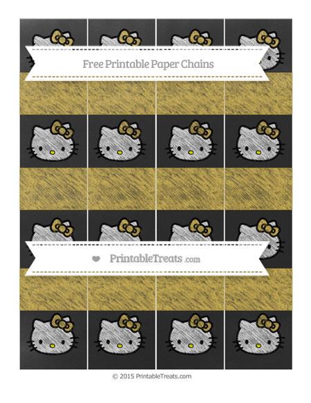 Free Metallic Gold Chalk Style Hello Kitty Paper Chains