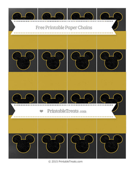 Free Metallic Gold Chalk Style Mickey Mouse Paper Chains