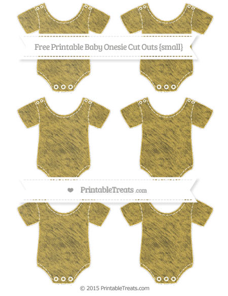 Free Metallic Gold Chalk Style Small Baby Onesie Cut Outs