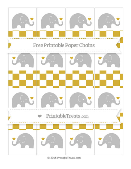 Free Metallic Gold Checker Pattern Baby Elephant Paper Chains