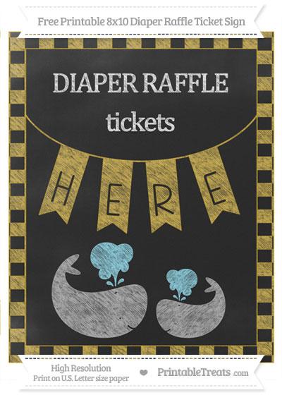 Free Metallic Gold Checker Pattern Chalk Style Baby Whale 8x10 Diaper Raffle Ticket Sign