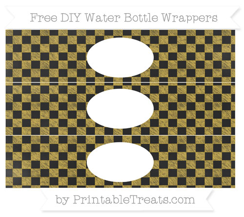 Free Metallic Gold Checker Pattern Chalk Style DIY Water Bottle Wrappers