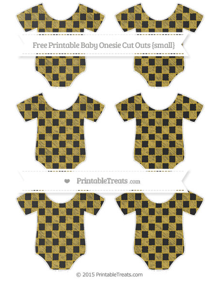 Free Metallic Gold Checker Pattern Chalk Style Small Baby Onesie Cut Outs