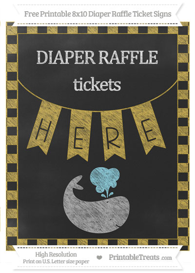 Free Metallic Gold Checker Pattern Chalk Style Whale 8x10 Diaper Raffle Ticket Sign
