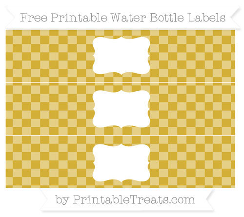 Free Metallic Gold Checker Pattern Water Bottle Labels