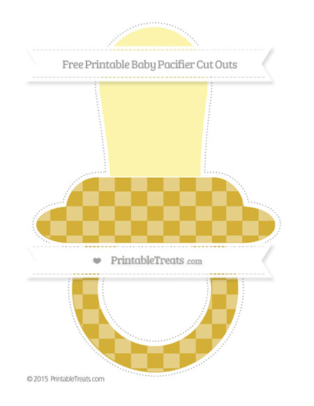 Free Metallic Gold Checker Pattern Extra Large Baby Pacifier Cut Outs