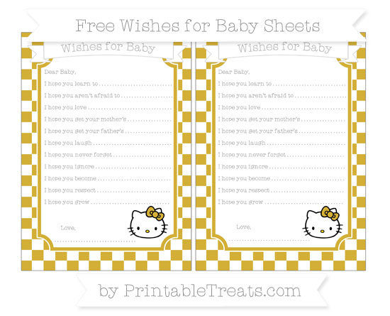 Free Metallic Gold Checker Pattern Hello Kitty Wishes for Baby Sheets
