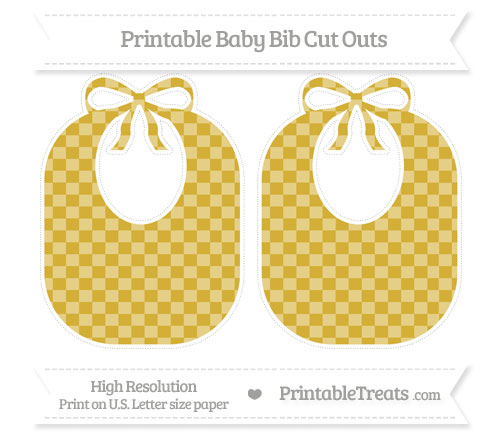 Free Metallic Gold Checker Pattern Large Baby Bib Cut Outs