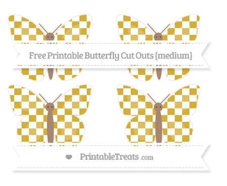 Free Metallic Gold Checker Pattern Medium Butterfly Cut Outs