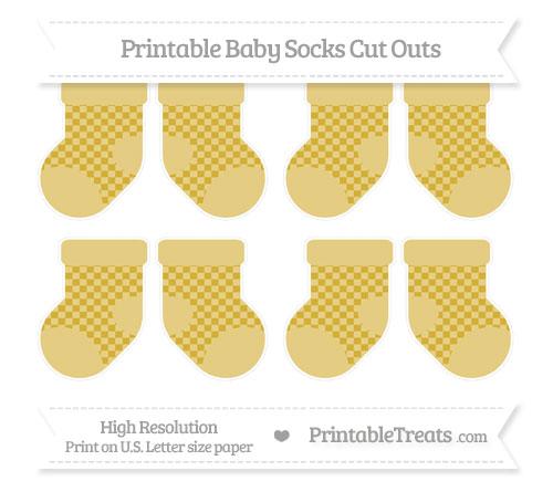 Free Metallic Gold Checker Pattern Small Baby Socks Cut Outs