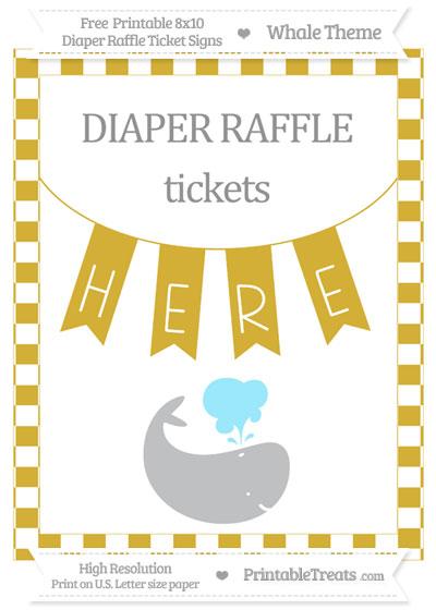 Free Metallic Gold Checker Pattern Whale 8x10 Diaper Raffle Ticket Sign