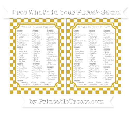 Free Metallic Gold Checker Pattern What's in Your Purse Baby Shower Game