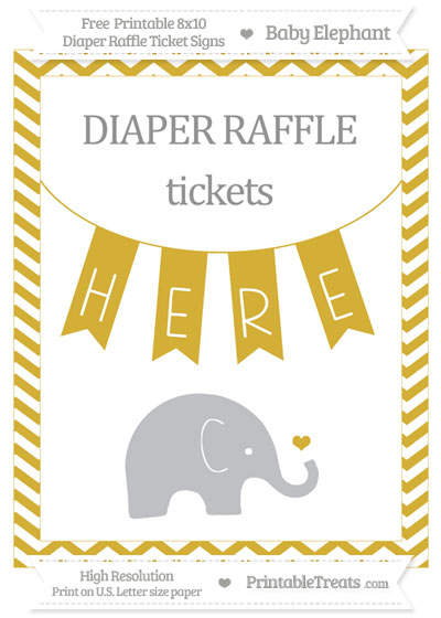 Free Metallic Gold Chevron Baby Elephant 8x10 Diaper Raffle Ticket Sign