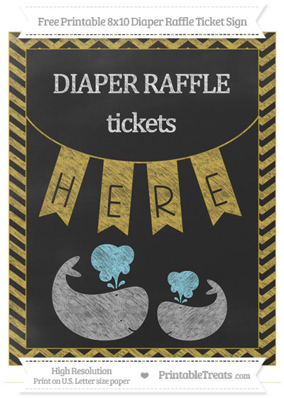 Free Metallic Gold Chevron Chalk Style Baby Whale 8x10 Diaper Raffle Ticket Sign