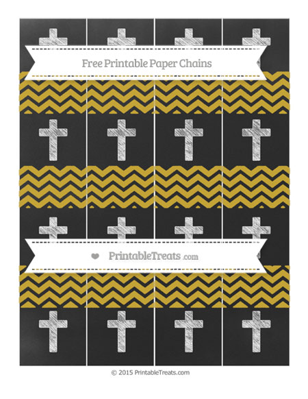 Free Metallic Gold Chevron Chalk Style Cross Paper Chains