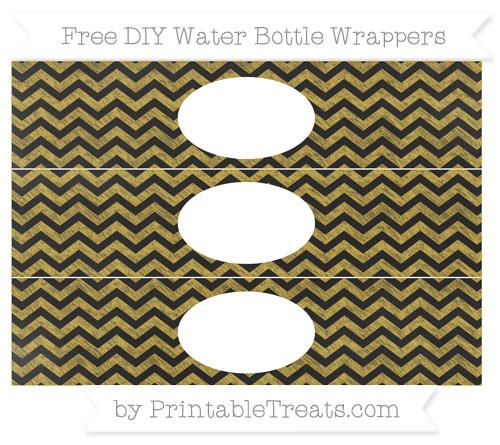 Free Metallic Gold Chevron Chalk Style DIY Water Bottle Wrappers