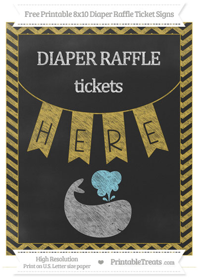 Free Metallic Gold Chevron Chalk Style Whale 8x10 Diaper Raffle Ticket Sign
