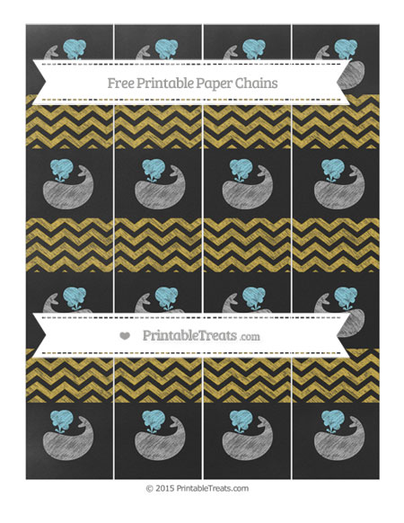 Free Metallic Gold Chevron Chalk Style Whale Paper Chains
