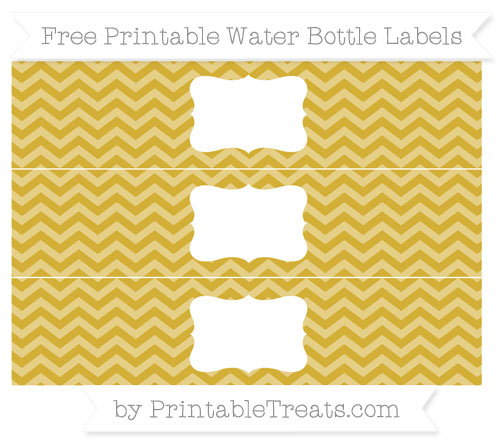 Free Metallic Gold Chevron Water Bottle Labels