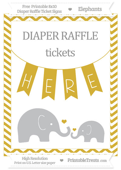Free Metallic Gold Chevron Elephant 8x10 Diaper Raffle Ticket Sign