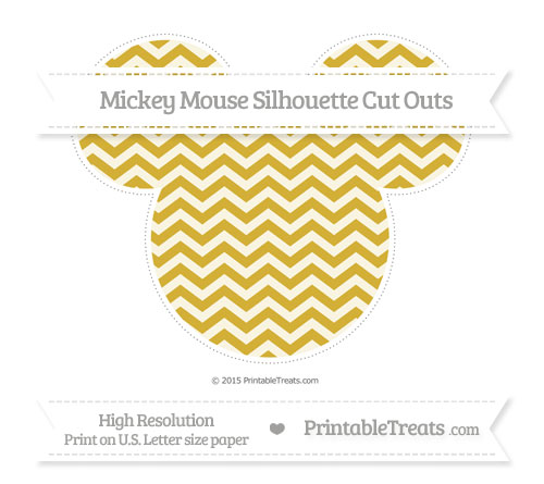 Free Metallic Gold Chevron Extra Large Mickey Mouse Silhouette Cut Outs