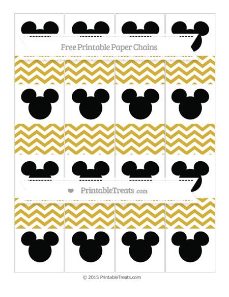 Free Metallic Gold Chevron Mickey Mouse Paper Chains