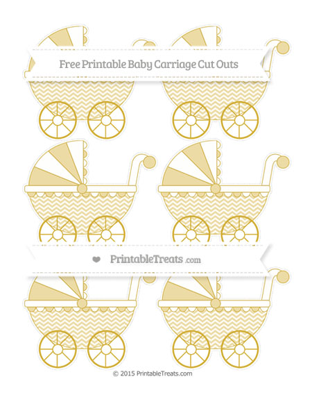 Free Metallic Gold Chevron Small Baby Carriage Cut Outs