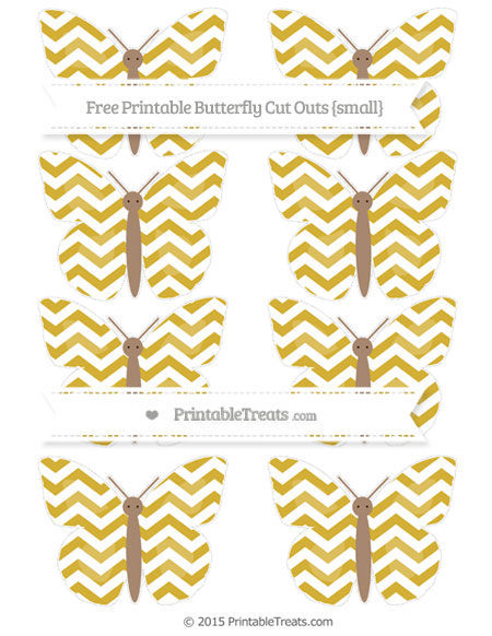 Free Metallic Gold Chevron Small Butterfly Cut Outs