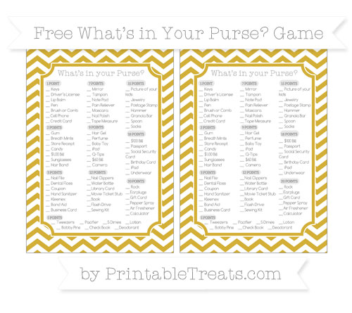 Free Metallic Gold Chevron What's in Your Purse Baby Shower Game